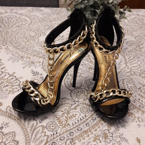Gold Black Chain High Heel Sandals